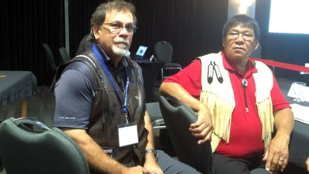 Chief of Mi'gmawe'l Tplu'tagnn Inc. George Ginnish and Gordon Labillois, representing Eel River Bar, were among several aboriginal interveners at the National Energy Board hearings in Saint John on Wednesday.