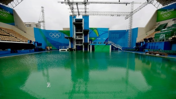 The Olympic diving pool has been closed for water training, confirm Rio officials. The decision was made to keep the water still so that it can return to a blue colour. Regular competition will still go ahead later today.