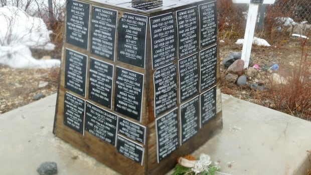 A monument at the Churchill, Man., cemetery shows some of the names of those who perished after the forced relocation.