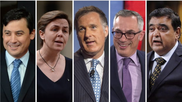 Conservative leadership contestants (from left to right): Michael Chong, Kellie Leitch, Maxime Bernier, Tony Clement, and Deepak Obhrai.