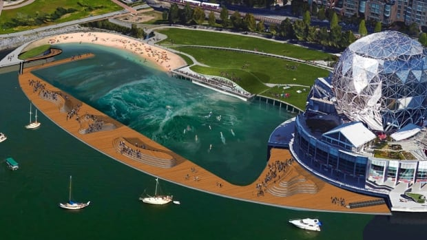 A Vancouver company wants to build a beach and an artificial wave pool in the polluted waters of east False Creek near Science World.