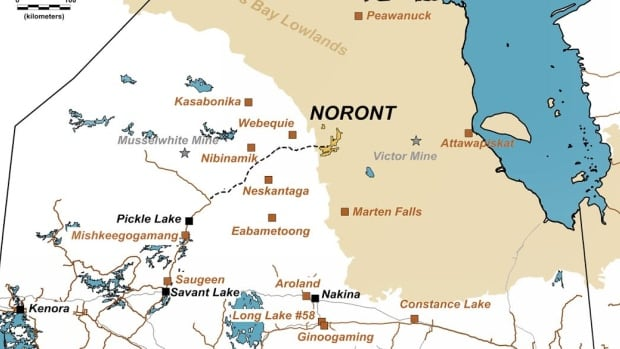 'Other people are abandoning the region, we're doubling down,' says Noront Resources president Al Coutts. This map, from the company's website shows the area of northern Ontario where Noront has claims and is planning to drill later this month.