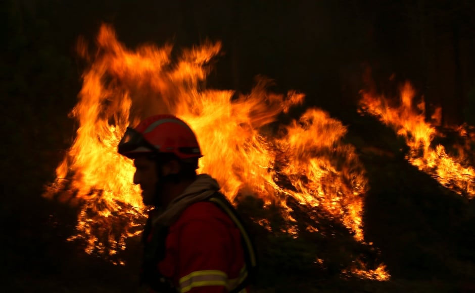 PORTUGAL FOREST FIRE firefighters tackle flames