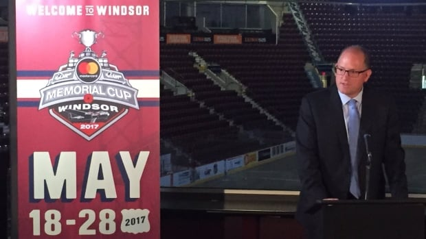 Windsor Mayor Drew Dilkens speaks at the unveiling of the 2017 Memorial Cup logo.