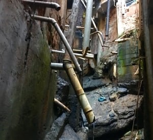 Sewage pipes in Rochinha, Rio's largest favela