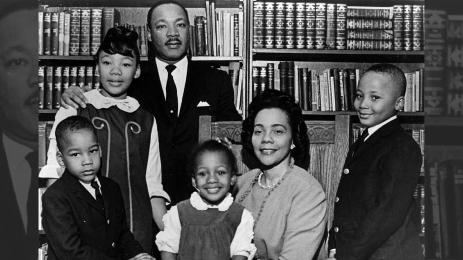 This 1966 file photo is the last official portrait taken of the entire King family. From left are Dexter King, Yolanda King, Martin Luther King Jr., Bernice King, Coretta Scott King and Martin Luther King III.