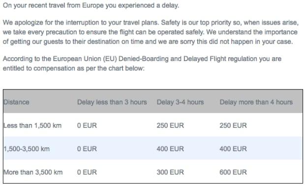 Part of WestJet email about passenger compensation