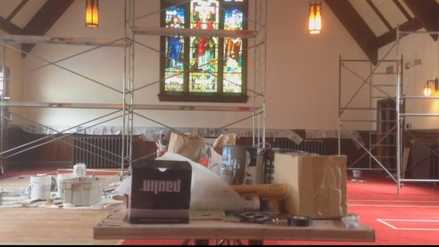 Workers are transforming the old interior.