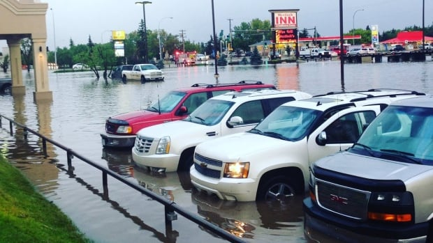 The parking lot of the Westlock Inn was filled with water Monday evening.