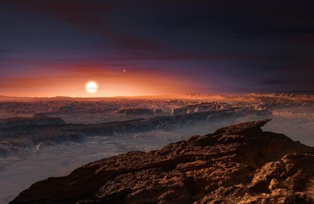 Surface of planet Proxima b orbiting red dwarf star Proxima Centauri