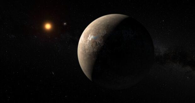 Planet Proxima b orbiting red dwarf star Proxima Centauri