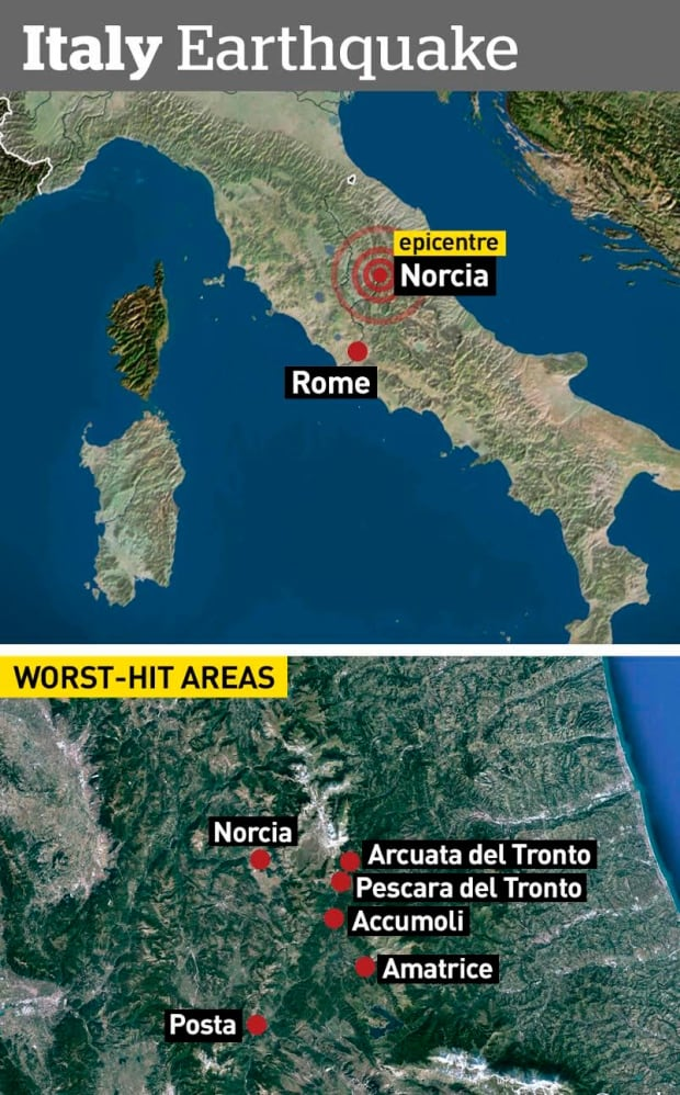 Like Dantes Inferno Killed Towns Demolished In Central - Italy earthquake map