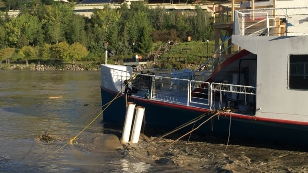 The Edmonton Queen in the high river water on Aug. 24, 2016.