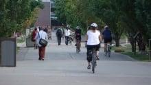 students university ottawa campus cyclist bike school