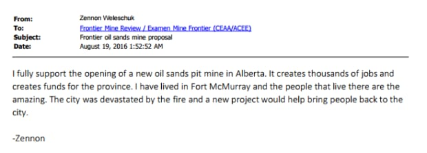 A comment submitted to the panel reviewing the Frontier Oilsands mine