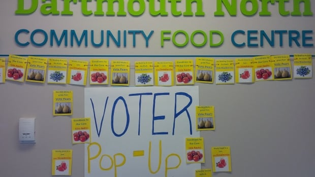 The Dartmouth North Community Food Centre's voter engagement campaign kicks off with a pop-up polling station for residents' favourite fruit.