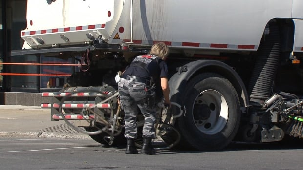 A 25-year-old woman was struck by a Montreal street-cleaning truck on Mozart Street at St-Laurent Boulevard in August 2016. One year later, the city is considering recommendations to increase road safety for all users.