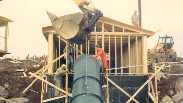 This photo taken in 1987 shows the mini-hydroelectric plant under construction in Mary's Harbour, Labrador. Show in the foreground is the plant's draft tube.