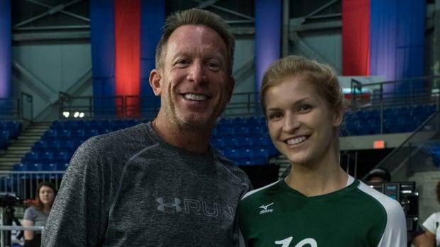 Sports co-ordinator Mark Ellis and Jess Zacharias on set at UBC for the film, Live Like Line.