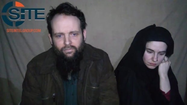 Canadian Joshua Boyle and his wife, American Caitlan Coleman, are shown in this still image taken from a video which appears to have been released by the Taliban in Afghanistan.