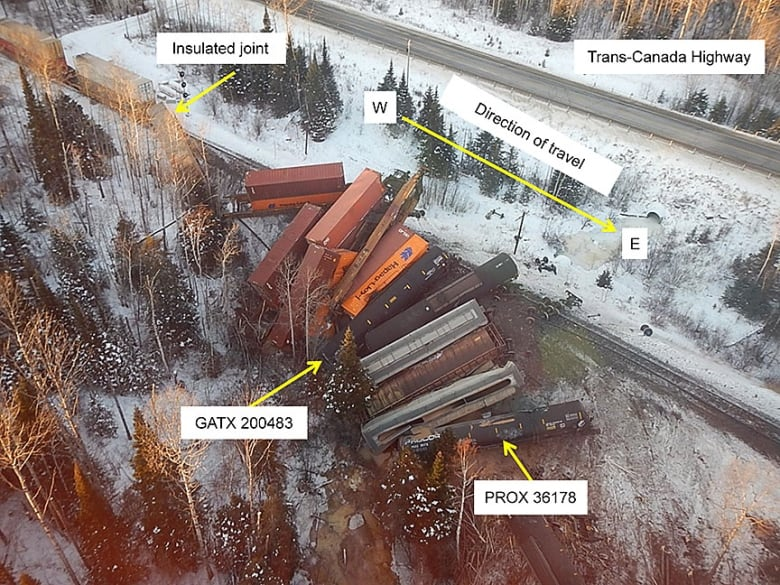 an aerial view of the 2015 derailment about 30 km east of