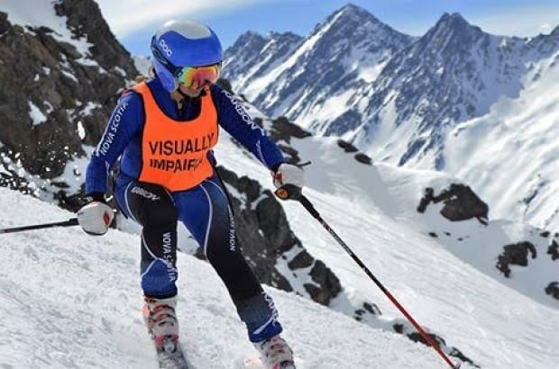 Visually impaired skiier Brenda MacDonald