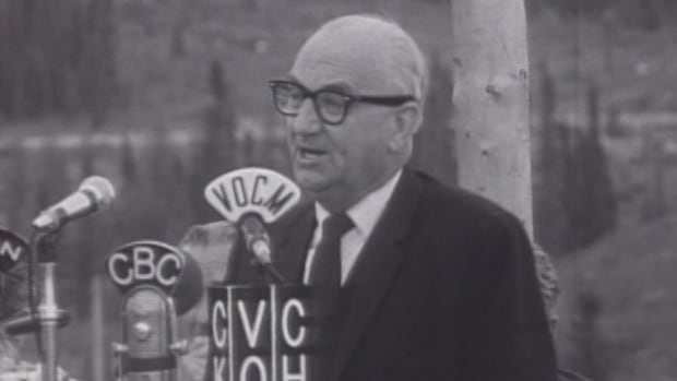Former premier Joey Smallwood at the opening of the Upper Churchill project in 1971.