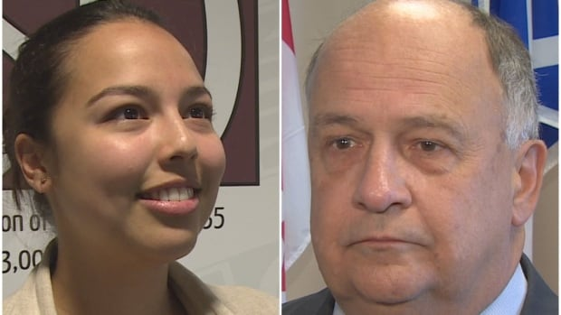 Student leader Renata Lang (left) says access to information requests reveal MUN has a secret committee planning to raise tuition in 2017, but MUN president Gary Kachanoski (right) says no decision has been made.
