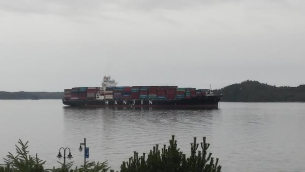 The 255-metre long container ship, Scarlet, is anchored in the port of Prince Rupert. It arrived Aug. 30.