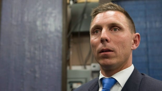 Ontario PC leader Patrick Brown at the party celebrating Raymond Cho's victory in the Scarborough-Rouge River byelection on Thursday.