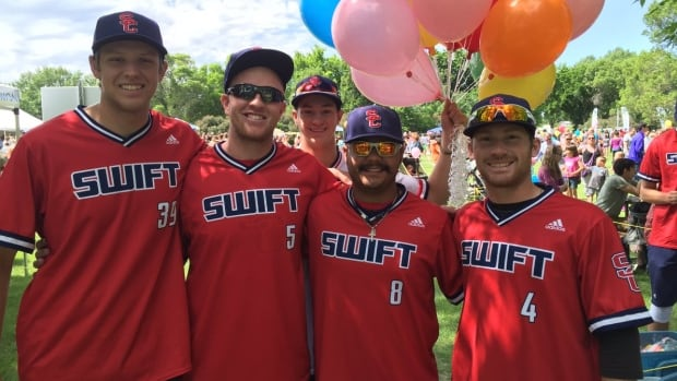 Members of the Swift Current baseball team at a community event in 2016.