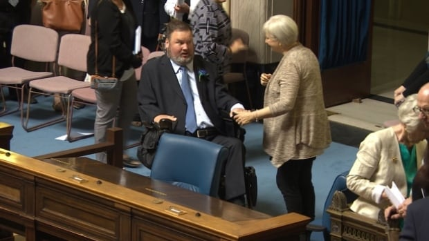 MLA Steven Fletcher started his term by fighting for access to the floor of the legislature in his wheelchair. Now he wants to be able to cross the floor if desired.
