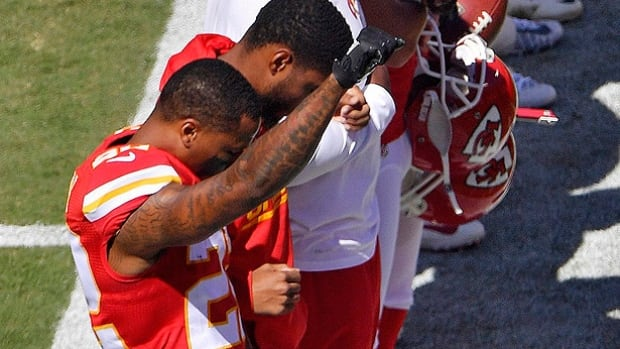 Chiefs Cornerback Marcus Peters Raises Fist During U S