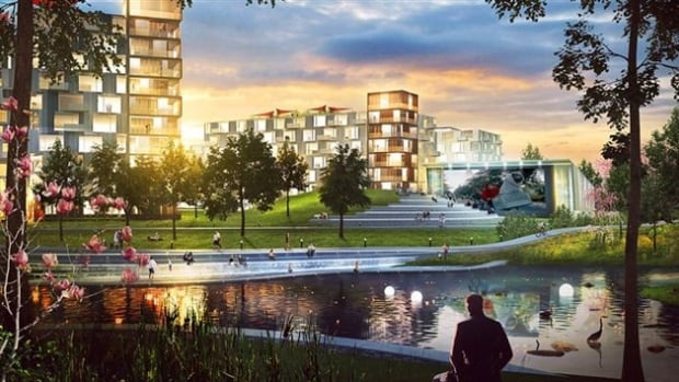 The new mixed development in Brossard would cater to pedestrians and cyclists, Devimco says.