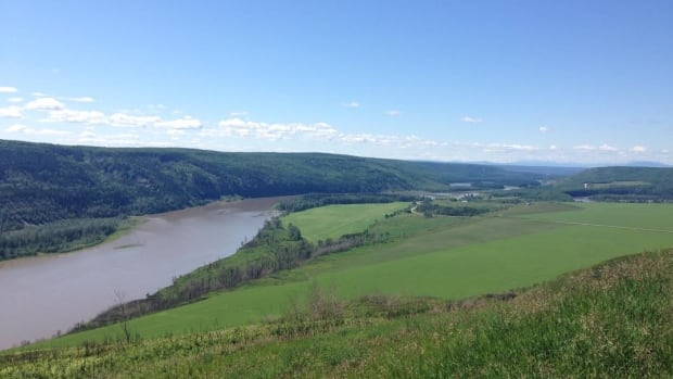 Part of the Peace River valley scheduled to be flooded in order to build the Site C dam in northeastern British Columbia.
