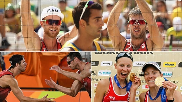 Canada will have the maximum two men's and two women's beach volleyball teams playing for the top prize of $100,000 in each gender at this week's World Tour Finals in Toronto, including clockwise from top: Ben Saxton, Chaim Schalk, Jamie Broder, Kristina Valjas, Josh Binstock and Sam Schachter.