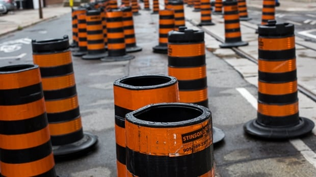 Road Construction pylons on Richmond Street in Toronto, Ontario taken Sept 10, 2016.