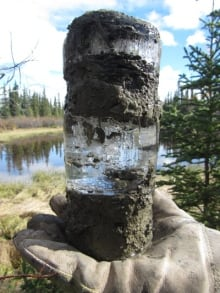Permafrost core sample