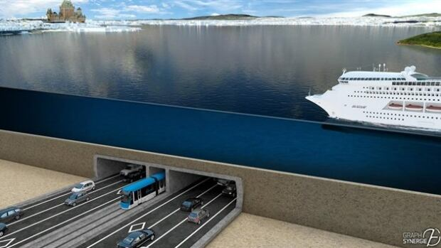 A mock-up of the proposed tunnel project between Quebec City and Lévis.