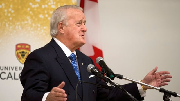Former prime minister Brian Mulroney delivers the 2016 William A. Howard Memorial Lecture at the University of Calgary on Tuesday.