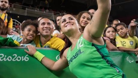image of paralympics fans selfie brazil