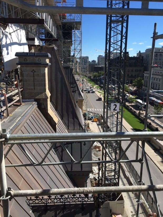 Scaffolding around West Block