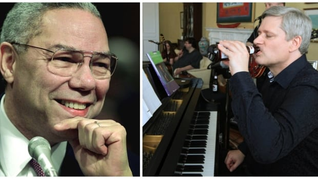 Leaked e-mails reveal that former U.S. secretary of state Colin Powell and former prime minister Stephen Harper spent time together at Bohemian Grove this summer. Harper sips a beer as he plays the piano with a band in Ottawa in 2011.
