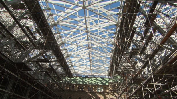 The glass roof of the temporary home for the House of Commons Chamber is designed to filter sunlight and external sound.