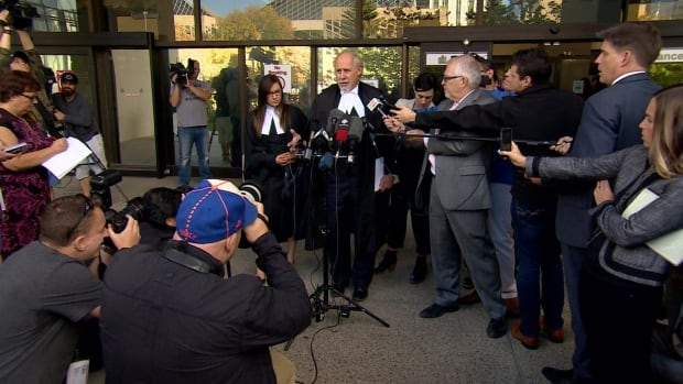 Defence lawyer Brian Beresh, speaking to reporters outside the Edmonton Law Courts building, says he plans to file a notice of appeal of Travis Vader's second-degree murder conviction on Friday morning.