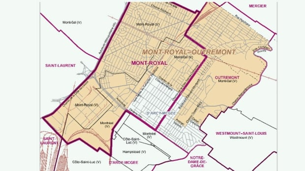 The new map merges the Mount Royal and Outremont ridings, while modifying the boundaries of D'Arcy McGee.
