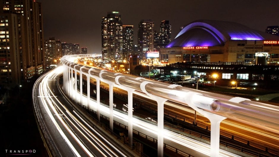 A concept image of what TransPod's Hyperloop line might look like in downtown Toronto.