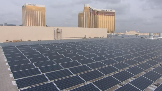 These solar panels generate enough electricity to power 25 per cent of the peak energy used by three of MGM's hotels, at a huge cost to the power utility.