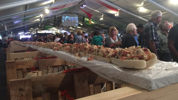 The lobster roll was 36.5 metres long — longer than the length of a basketball court.