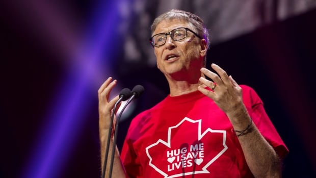 Philanthropist Bill Gates, shown here at Global Citizen Concert to End AIDS, Tuberculosis and Malaria, in Montreal on Saturday, was in Vancouver on Tuesday.